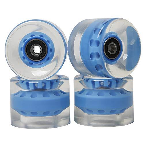 FREEDARE Skateboard Wheels with Bearings 60mm Longboard Wheels (Clear Blue,Set of 4)