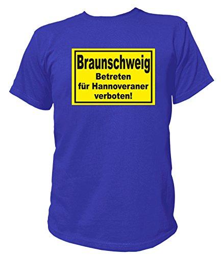 Artdiktat Herren T-Shirt Braunschweig - Betreten für Hannoveraner Verboten! Größe XL, Blau