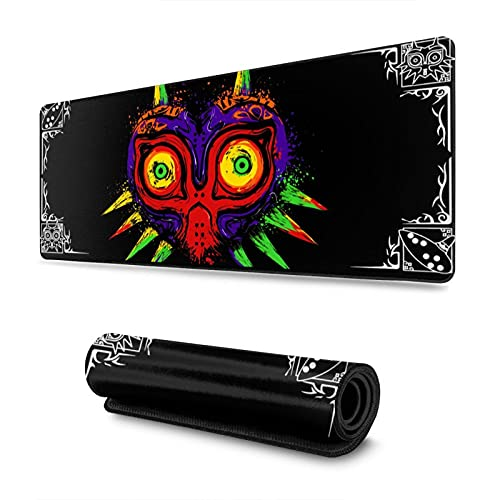 Classic The Legend of Zelda The Ancient Evil Majora's Mask Logo Extra Large Gaming Mouse Pad 31.5x11.8x0.12inch with Stitched Edges Durable Non-Slip for Work & Gaming, Office & Home