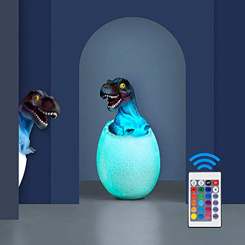 Dinosaur Night Light for Kids,3D Dinosaur Toys Night Light T-Rex Lamp with Stand Remote & Pat & Touch Control Rechargeable 16 Color Birthday Gifts for Boys Girls & Living Bed Room