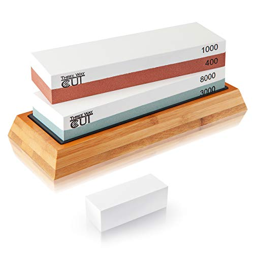 Knife Sharpening Stone Set Whetstone Kit 4 Grit 400/1000 3000/8000 Sharpening and Honing Waterstone Best Wet Stone Sharpener for Chefs Kitchen Knives Anti-slip Bamboo Base and Flattening Stone
