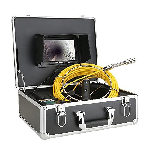 Monitor de 7 'Cámara de video de inspección de tuberías de 50 m,endoscopio industrial de tubería de alcantarillado de drenaje IP68 HD 1000TVL con 12 luces LED para tuberías de drenaje bloqueado/lento