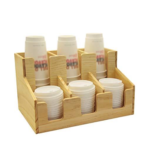 NN Taza De Agua Dispensador De Vasos Dispensador De Café Tapa Bastidor 6 Compartimentos De Madera para Vasos De Plástico, Vasos De Papel De Tazas De Café Y Cono De Papel,A