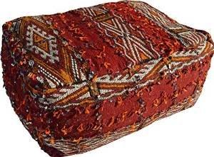 Black Friday - Jumbo Vintage Marokkanisches Rot Pailletten Berber Kelim Hocker Pom Pom einfügen (gefüllt) rechteckig - W 70 L 50 H 30 cm -
