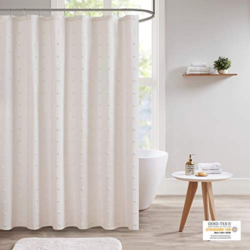 "Urban Habitat Brooklyn Cotton Fabric Shower Curtain Jacquard Pom Machine Washable Shabby Chic Modern Home Bathroom Décor Bathtub Privacy Screen, 70"" x 72"", Ivory"