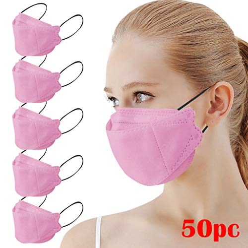 Reusable Adult Outdoor 𝙈𝙖𝙨𝙠𝙨, Fashion Cute Design, 𝙈𝙖𝙨𝙠 Like Fish, Non Woven and Melt Blown Cloth (50, Pink B)