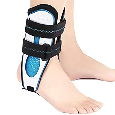 Velpeau Ankle Support Brace for Men & Women, Ankle Stabilizer, Stirrup Splint for Sprains, Tendonitis, Volleyball, Basketball, Sprained Ankle, Reversible Left & Right Foots, One Size Fits Most (White)