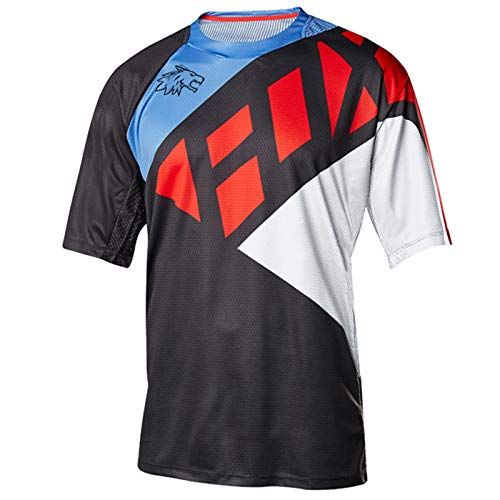Wisdom Leaves Men's Mountain Bike Jersey Short Sleeve MTB Jersey Cycling Bike Shirt Downhill Motocross T-Shirt Black Blue