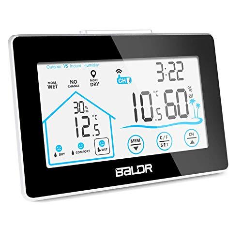 Nasharia Wetterstation Funk mit Außensensor, mehrweg Digital Thermometer-Hygrometer für Innen und außen, Weißer Bildschirm mit Touchscreen, weiße Hintergrundbeleuchtung und Uhrzeit Anzeige(Schwarz)
