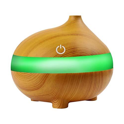 VOSAREA 300 ml USB aire de madera Humidificador Difusor de aceite esencial lámpara Aroma Aromatherapy Difusor eléctrico Aroma para el hogar (modelo de boca de pescado, color caoba)