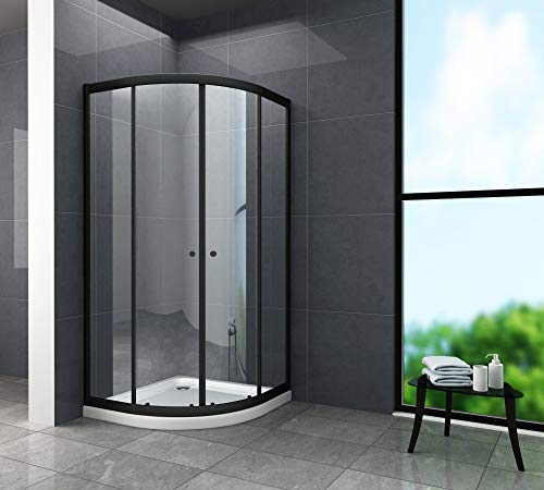 Douchecabine JUNISO-R (zwart) 90 x 90 x 190 cm helder glas