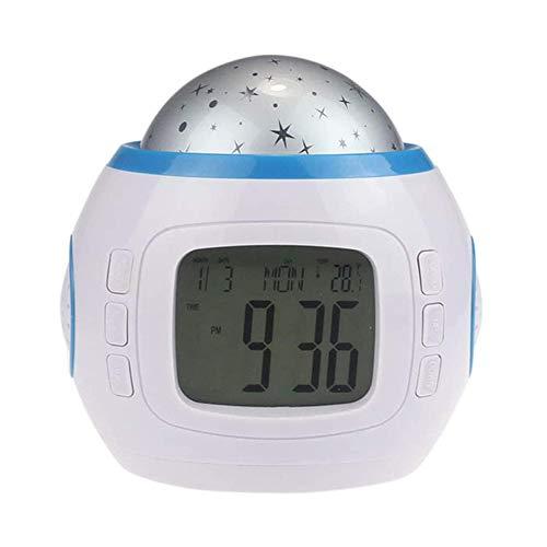 QYYL Despertador Digital, Reloj Despertador de Proyección, Ajuste Sencillo, Funciona con Pilas, función Snooze y luz Nocturna,Usado en Dormitorio y Sala de Estar (10.4x8.2x10.2cm) (White)