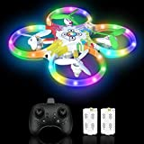 Drone per Bambini RC Drone LED a Colori con Sensore a Infrarossi Azionato a Mano,Drone con Due...