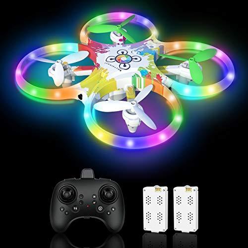Drohne für Kinder Bunte LED-Lichter Leuchten Nacht RC Quadrocopter 2 Akkus für 18 Minuten mit 5 Intelligente Sensor Automatische Ausweichfunktion Ferngesteuertes Spielzeug Drone für Kinder Geschenk