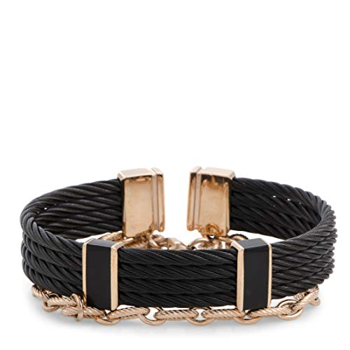 CHARRIOL St. Tropez Stainless Steel and Pink and Black PVD Black Lacquer Cable and Chain Bracelet