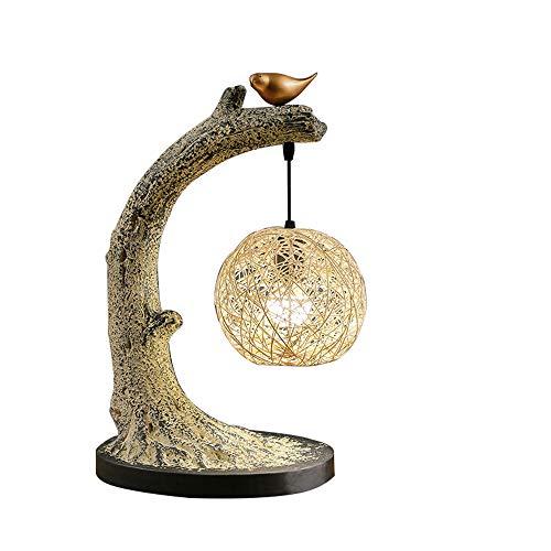 Vogelnest Retro Baum Rebe Vogel Tischlampe Harz Tisch Lampe Dekoration Wohnzimmer Studie Schlafzimmer Nachttischlampe Lernen Leselampe