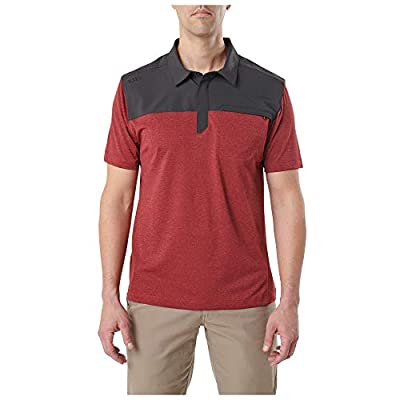 5.11 Tactical Men's Rapid Short Sleeve Polo, Polyester and Plain Weave, Anti-Odor, Engine Red, 2XL, Style 71351