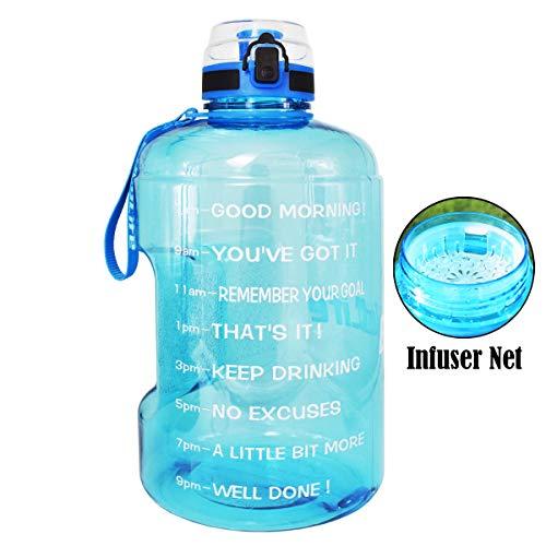 QuiFit Motivierende Gallonen-Wasserflasche mit Zeitmarker & Sieb & Griff, auslaufsicher, BPA-frei, für Fitness-Outdoor-Sport-Enthusiasten, himmelblau, 1 Gallon