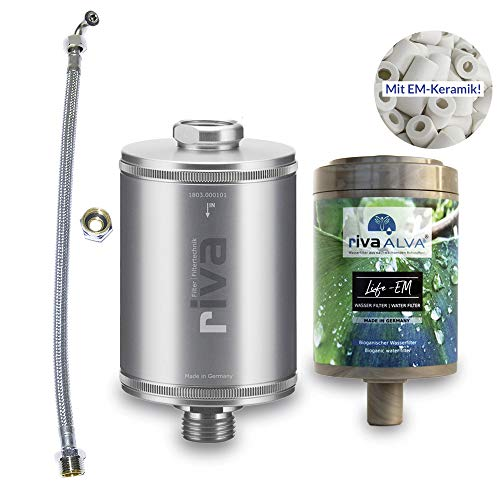 rivaALVA Trinkwasser-Filter LIFE-EM Filterset | Blockaktivkohle + EM-Keramik, plastikfreie Bio-Filterkartusche inkl. Schlauchanschluss-Set, reduziert Schadstoffe wie Chlor, Mikroplastik u.m.