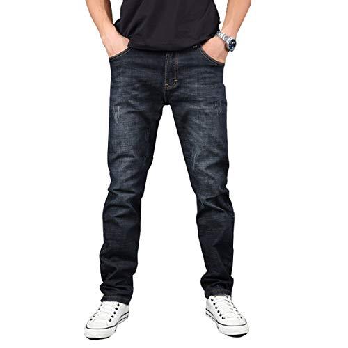 Hiloyaya メンズ デニムパンツ ストレッチ ダメージ加工 ジーパン アメカジ メンズジーンズ ズボン 紳士 大きいサイズ (42, ネイビー)