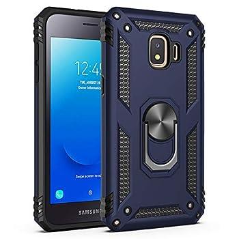 Meifei Samsung Galaxy J2 Core Case Galaxy J2 2019/J2 Pure/J2 Dash/J2 Shine Case Military Grade 360 Degree Rotating Metal Ring Holder Kickstand Protective Phone Cover Case 2019 Released Blue