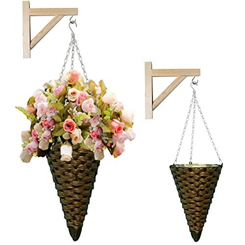 Four Season Garden - Vasi di vimini, vasi da appendere, vasi decorativi, set di 2 vasi per interni ed esterni con supporto in legno (marrone)