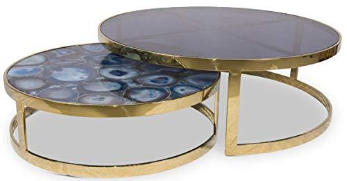 Casa Padrino Conjunto de Mesa de Centro Azul/Oro - 2 Mesas de salón Redondas con Piedras Preciosas de ágata y Placa de Vidrio - Calidad Muebles de Salón