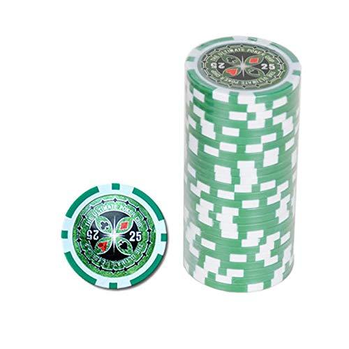 Farbe Wei/ß-Grau 4cm Durchmesser 20 Clay Pokerchips f/ür Pokerset Wert 5-14g Bullets Playing Cards
