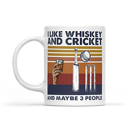 Funny Coffee Mugs I Like Whiskey and Cricket and Maybe 3 People Vintage Retro 11oz