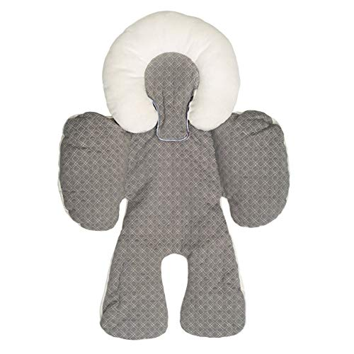 BETTERLE Baby Body Support Newborn Infant Support for Car Seats and Strollers - 100% Cotton Infant Head Body Support for Babies - Adjustable Comfortable Pushchair Seat (Grey)
