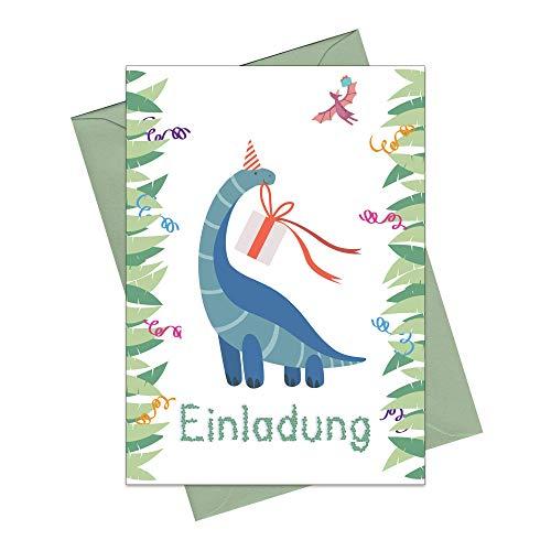 the lazy panda card company 15 Einladungskarten Kindergeburtstag: Dipo Dinosaurier Geburtstagseinladungen Einladungen Geburtstag Kinder Mädchen (15 Karten mit 15 passenden Umschlägen Briefumschlägen)