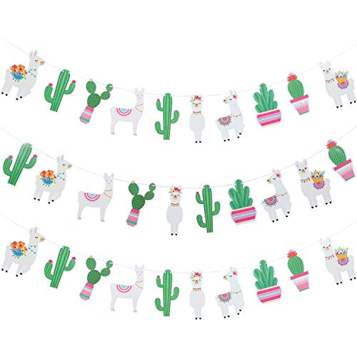 3 Pieces Llama Cactus Banner Garland Llama Party Decoration Cactus Banner for Llama Cactus Themed Birthday Graduation Mexican Fiesta Baby Shower Party Supplies