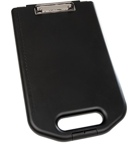 Genie M 800 Klemmbrett (mit großem DIN A4 Aufbewahrungsfach, Formularhalter und Aufhängeöse, schlankes Design) schwarz