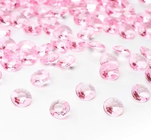 ABSOFINE Deko Diamanten 12mm Rosa Diamantkristalle Acryl Kristall Dekosteine Streudeko Tischdeko Diamanten Hochzeit Dekoration