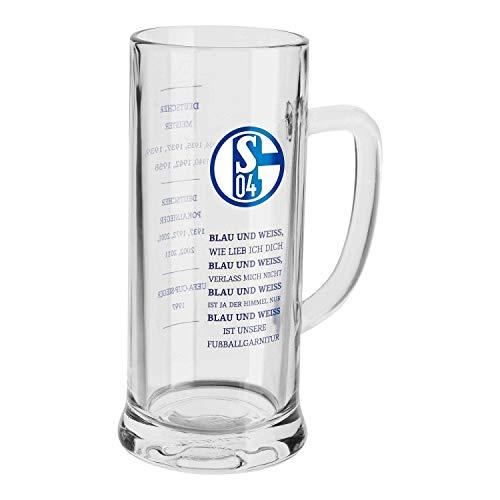 FC Schalke 04 Bierkrug - Erfolge - Bierseidel 0,5 l Bierglas, Glas S04 - Plus Lesezeichen I Love Gelsenkirchen