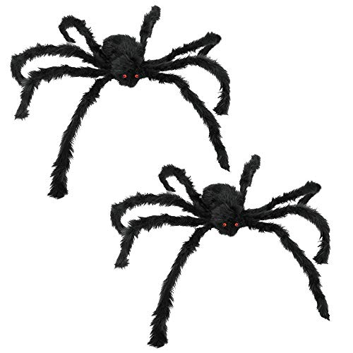 JAMIEWIN Giant Spider for Halloween Decoration, 55 inch 140cm Large Hairy Fake Spider Props, Scary Halloween Spider Decoration Outdoor Indoor House Party Yard 2 Pack