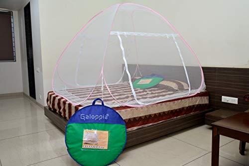 GALOPPIA Foldable Mosquito Net/Machhardani - Double Bed Bed Size 200 cm (6.5ft) X 200 cm (6.5ft) X 140 cm (Double Bed 6ft x 6ft,...