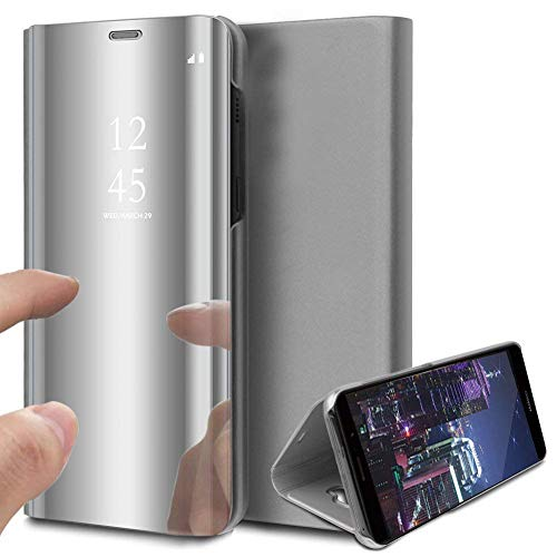 NSSTAR - Funda con tapa para iPhone 12 Mini, diseño de espejo con tapa, función atril y función atril de 360º, piel sintética, antigolpes, color plateado