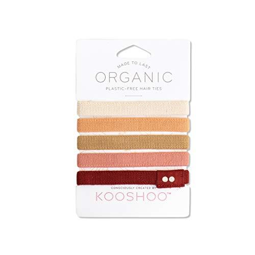 BIODEGRADABLE HAIR TIES in Ginger by KOOSHOO | Plastic-Free, Certified Organic Cotton Hair Elastics (5 Pack)