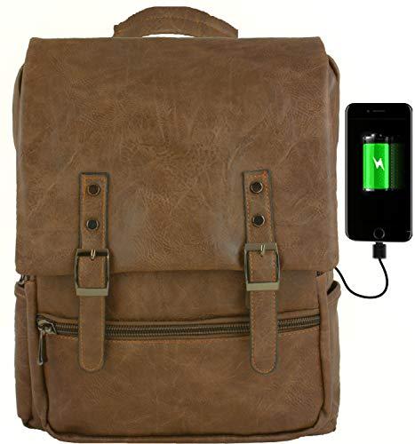 GiDan Zaino Uomo Pelle pu Marrone Cuoio Vintage Impermeabile USB Porta PC per Computer Portatile 13-15 Pollici, Laptop,Tablet,Multifunzione, Scuola, università, Aereo, Leggero, Morbido (Cuoio)