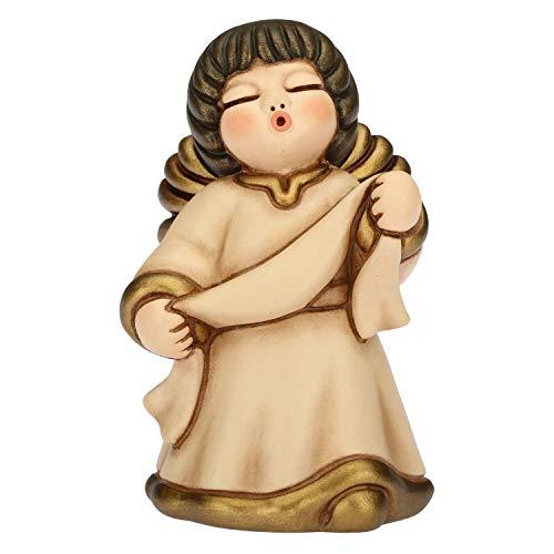 THUN® - Angelo dell'Annunciazione con Targhetta Personalizzabile - Veste Beige - Statuine Presepe Classico - Ceramica - I Classici