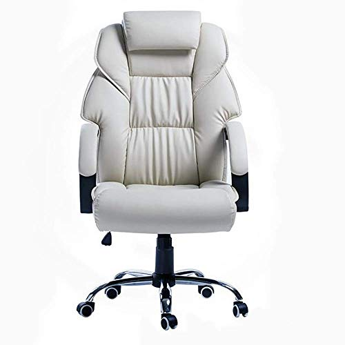 Sedia da Ufficio con Schienale Alto Girevole a 360 Gradi in Ecopelle per Ufficio esecutivo Sedia da Ufficio Regolabile in Altezza (Crema)