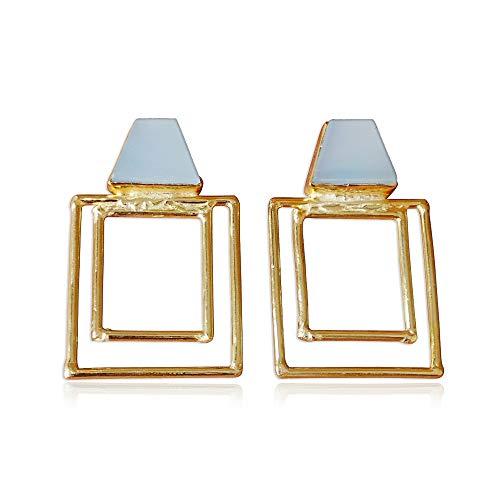 Bhagat Jewels - Pendientes colgantes hechos a mano con marco de oro de 18 quilates y piedras preciosas de calcedonia