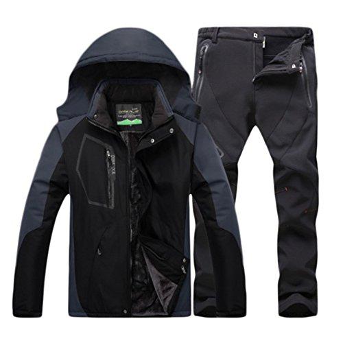 Qitun Herren wasserdichte Warm Regenjacke Outdoor Jacke Funktionshosen Wasserdicht warm Skihosen Trekkinghose Kit Schwarz B M