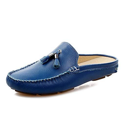 Yi-xir klassisches Design Laufwerk Loafer für Männer Boot Mokassins Slip auf Stil Ox Leder Kronleuchter Quaste Bequemlichkeit Hälfte gezogen Perfekt und komfortabel (Color : Blue, Size : 39 EU)