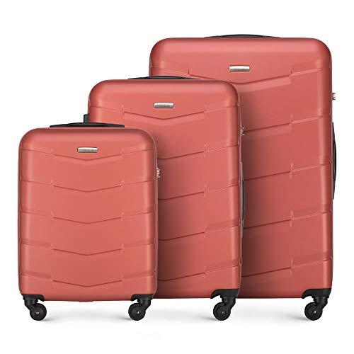 WITTCHEN Koffer – Set of 3 | hartschalen, Material: ABS | hochwertiger und Stabiler | Orange | Verschiedene Größen