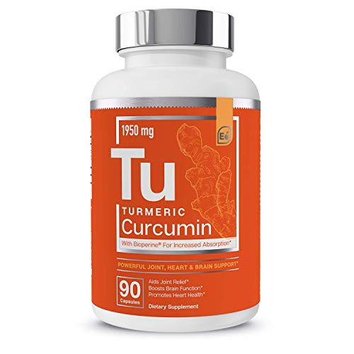 Turmeric Curcumin - Joint, Heart & Brain Support - with Bioperine for Increased Absorption - Essential Elements | 1950 mg - 90 Capsules