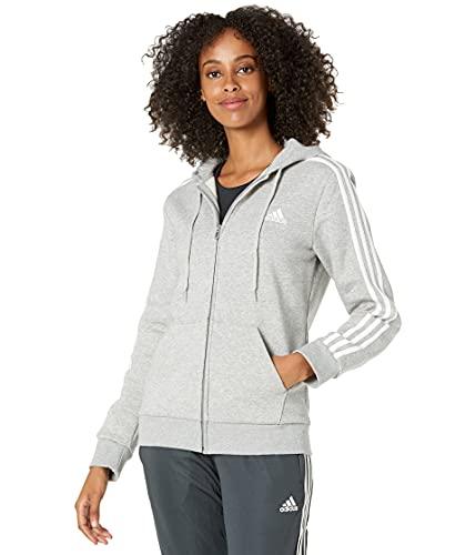 adidas Women's Standard Essentials Full-Zip Hoodie, Medium Grey Heather/White, Large