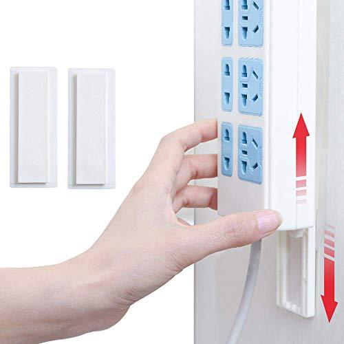 Regleta de enchufes Holder Fixator, Power Strip Holder Fixator autoadhesiva,Fijador de Pared Power para Montaje en Pared fácil Soporte para regleta Router WLAN y Mando a Distancia (2 Paquetes)