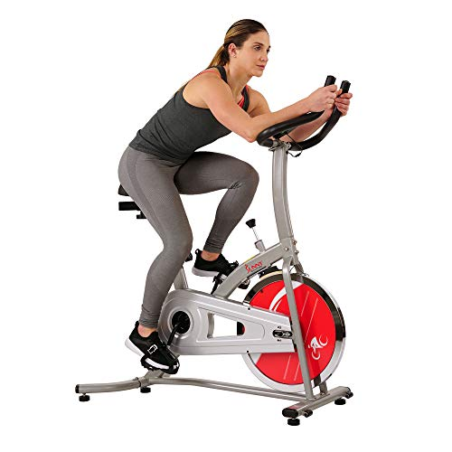 Sunny Health & Fitness Indoor Cycle Exercise Stationary Bike with LCD Monitor, 22 LB Chromed Flywheel, Felt Resistance, 220 LB Max Weight - SF-B1203